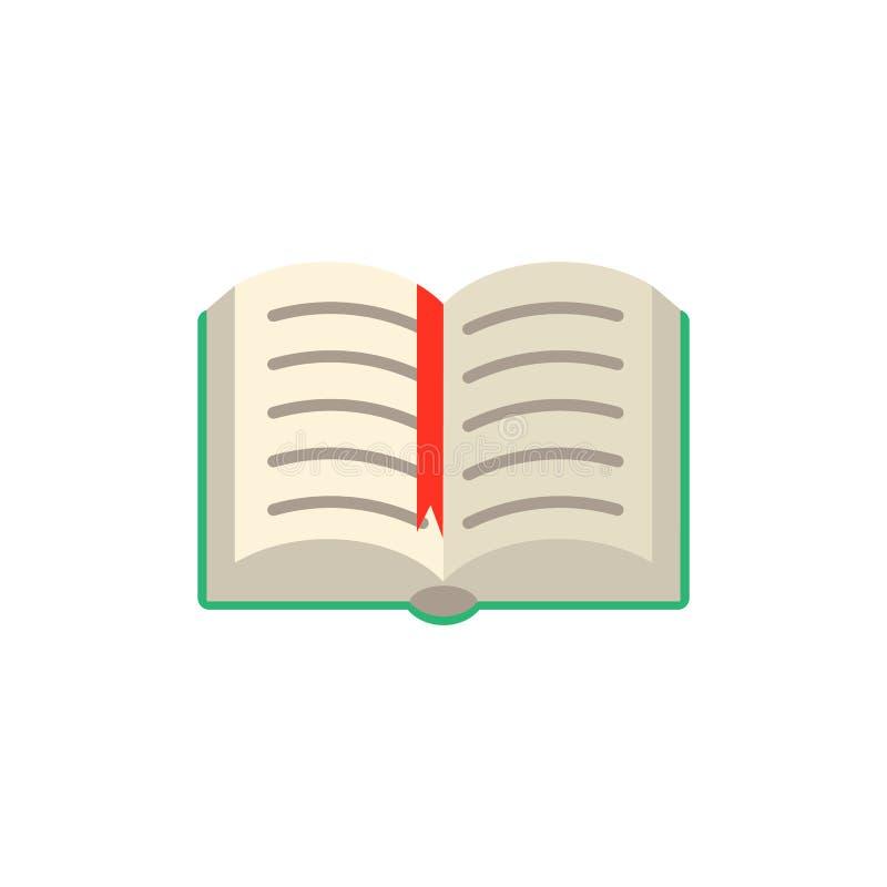 Vektor-Ebene öffnete Buch mit rotem Bookmarktag stock abbildung