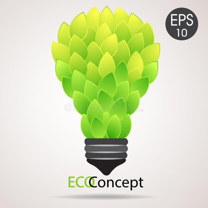 Vektor eco Lampe Glühlampe von den grünen Blättern Eco Konzept stock abbildung