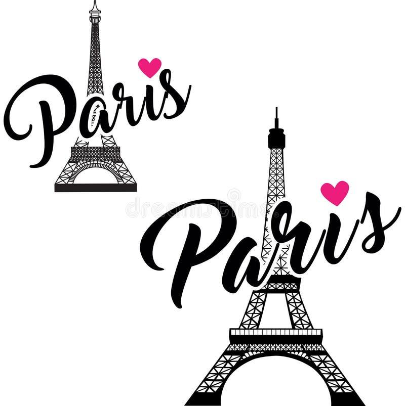 Vektor-Eiffelturmsatz Einfaches Grafikdesign für Paris vektor abbildung
