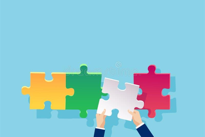 Vektor einer Geschäftsmannhand, die ein Puzzlespielstück addiert lizenzfreie abbildung