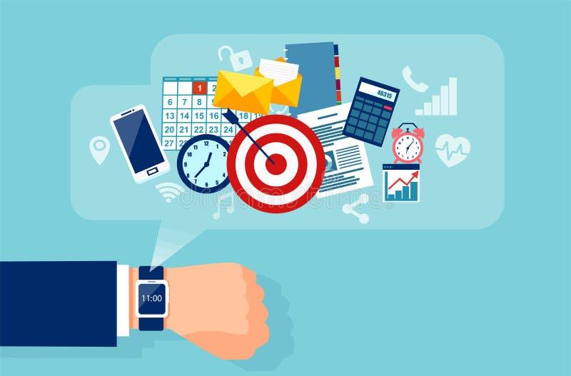 Vektor einer Geschäftsmannhand mit intelligenter Uhr für effiecient erfolgreiches und rentables Geschäft stock abbildung
