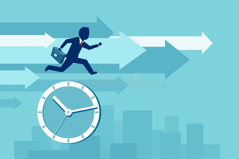 Vektor einer Geschäftsmannimmobilienagentur, die versucht, die Zeit zu überholen lizenzfreie abbildung