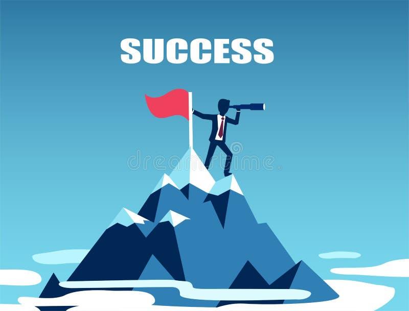 Vektor einer Geschäftsmannstellung auf den Berg, der nach Erfolg sucht lizenzfreie abbildung