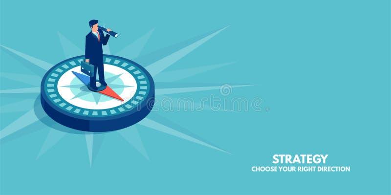 Vektor einer Geschäftsmannstellung auf Kompassvertretungsrichtung Symbol der Strategie, zukünftige Vision stock abbildung