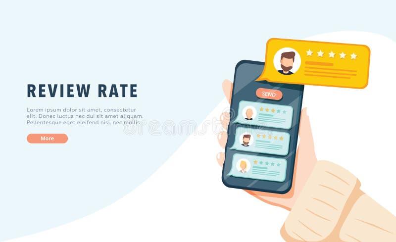 Vektor einer Online-Bewerbung am Handy, Kundendienst, Produkt oder Erfahrung zu veranschlagen und zu wiederholen Appberichte vektor abbildung