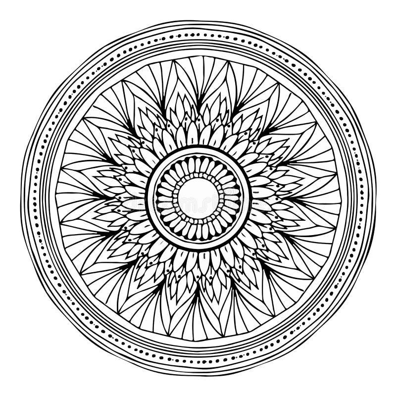 Vektor einer vollständig bearbeitbaren Mandala Es kann auch auf Farbe gedruckt werden stock abbildung