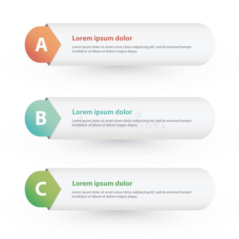 Vektor einer zwei drei Schritte; Fortschrittsfahnen mit bunten Tags lizenzfreie abbildung