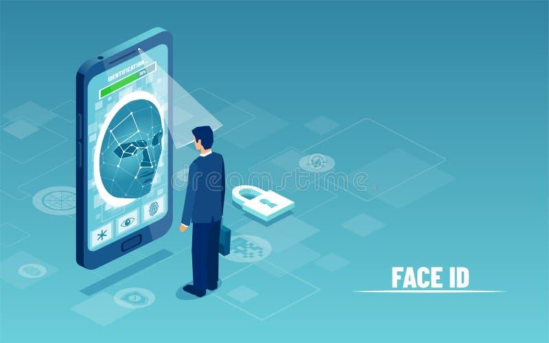 Vektor eines Geschäftsmannes, der Smartphonekamerascanner für persönliches verwendet, identifizieren Überprüfung vektor abbildung