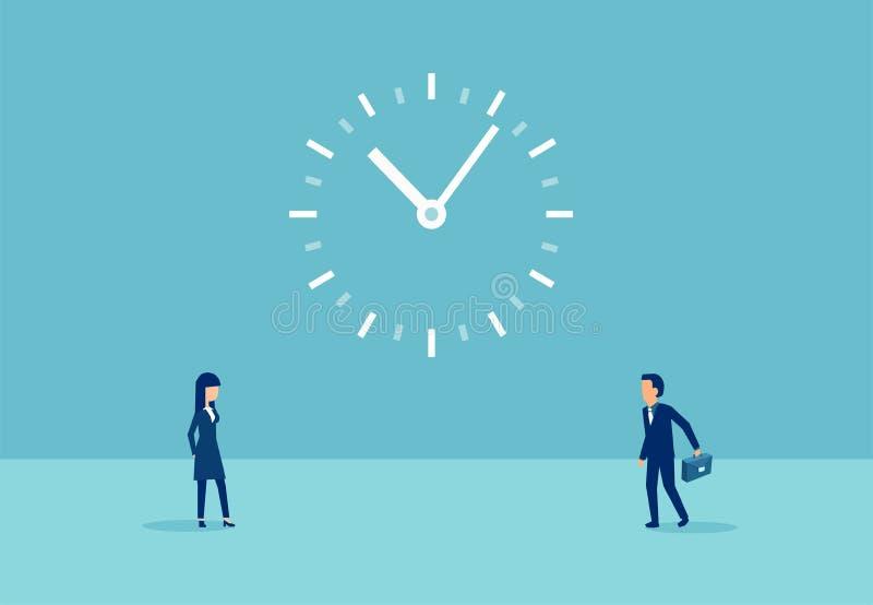 Vektor eines Gesch?ftsmannes mit Aktenkoffer und eine Frau und eine gro?e Uhr zwischen lizenzfreie abbildung