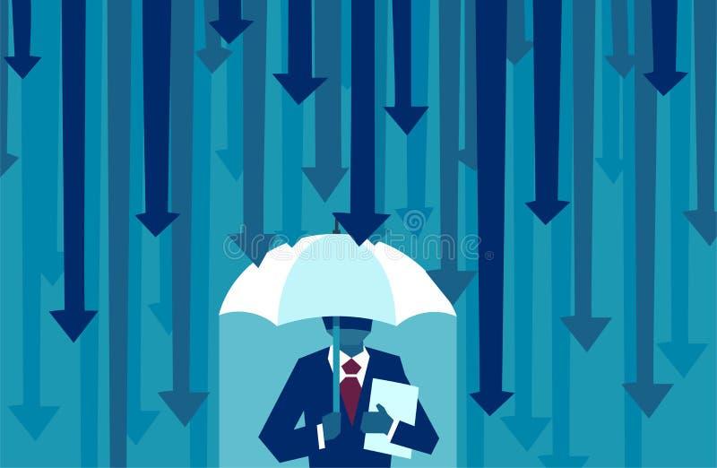 Vektor eines Geschäftsmannes mit dem Regenschirm, der vor fallenden Pfeilen schützend widersteht vektor abbildung