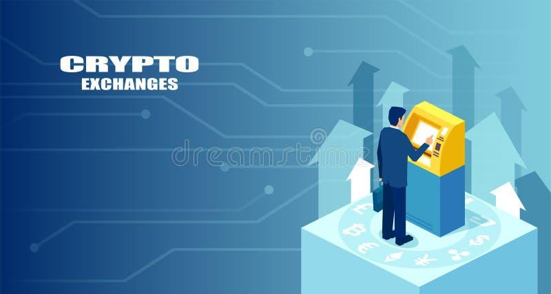 Vektor eines modernen bitcoin ATMs, des Geldautomaten und des Geschäftsmannes, der bitcoins kauft oder verkauft stock abbildung
