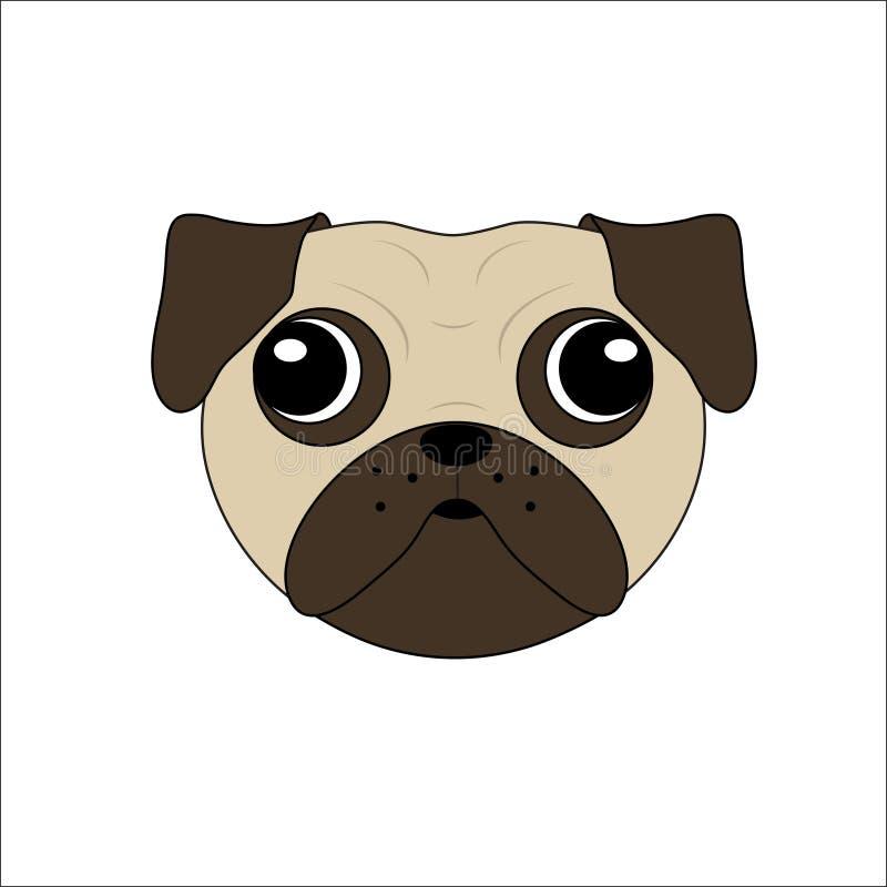Vektor eines Pugs-Gesichtes lizenzfreie abbildung