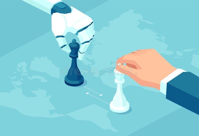 Vektor eines Roboters und der menschlichen Hand, die Schachspiel spielen vektor abbildung