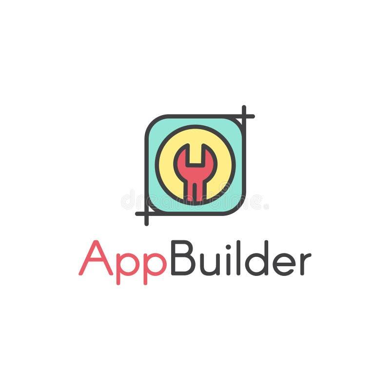 Vektor-einfaches Ikonen-Art-Illustrations-Logo des halbautomatisierten Anwendungs-Erbauers Tool für Entwickler und Programmierer lizenzfreie abbildung