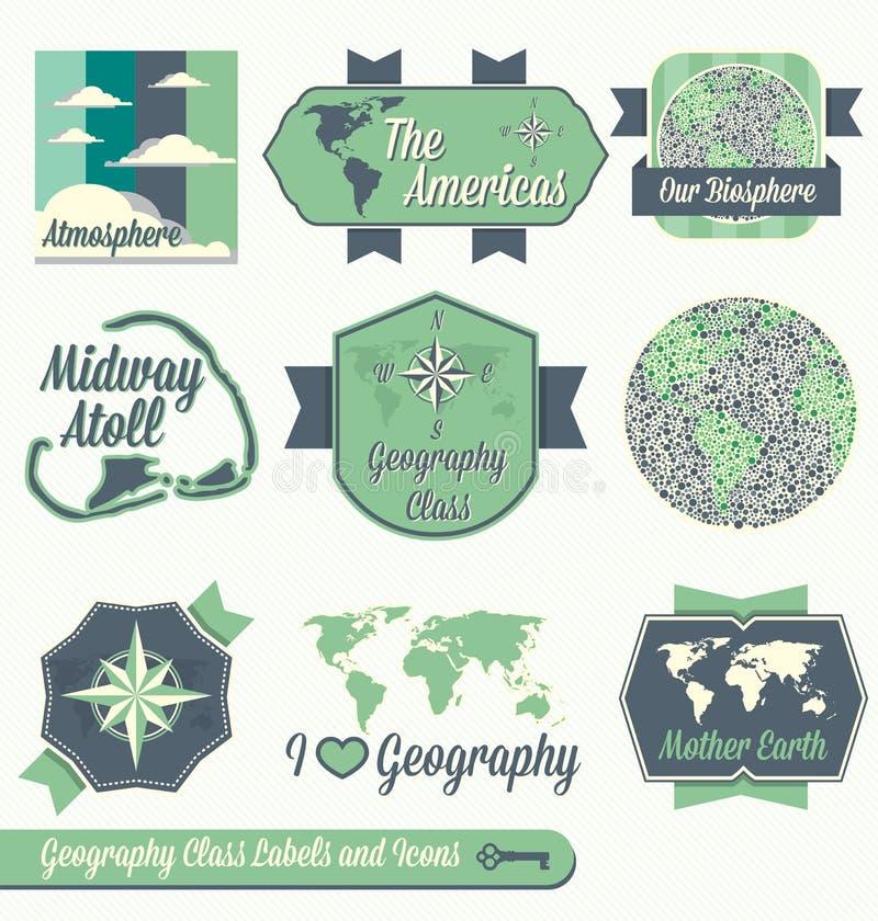 Vektor eingestellt: Geographie-Klassen-Aufkleber vektor abbildung