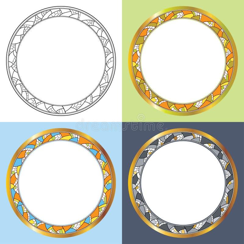 Vektor eingestellt mit abstrakten runden Rahmen Goldene Kante, dekoratives Mosaik in der schwarzen und unterschiedlichen Farbe stock abbildung