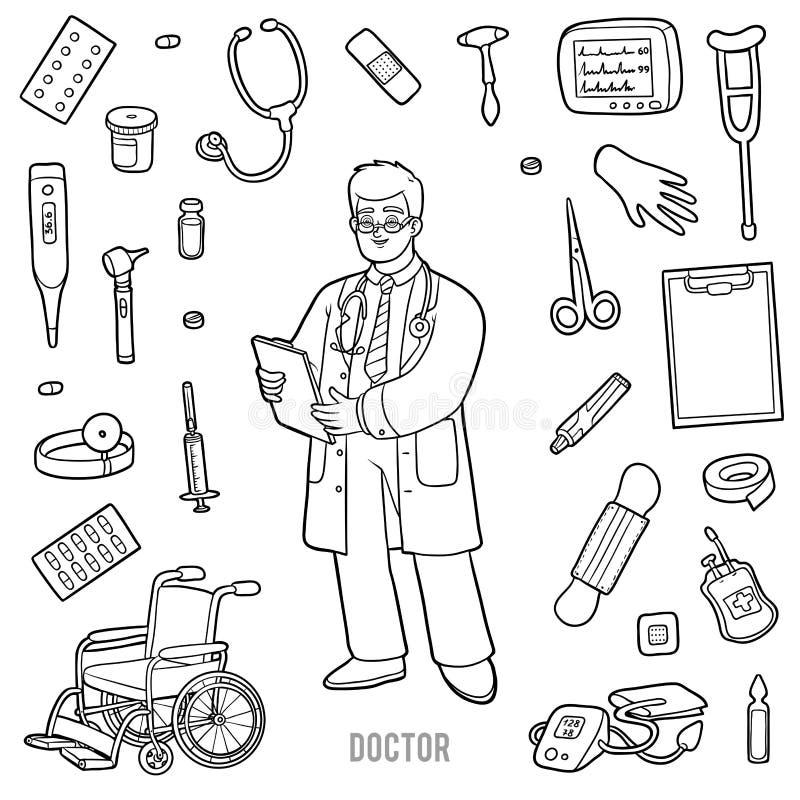 Vektor eingestellt mit Doktor und medizinischen Gegenständen Schwarzweiss-Einzelteil vektor abbildung