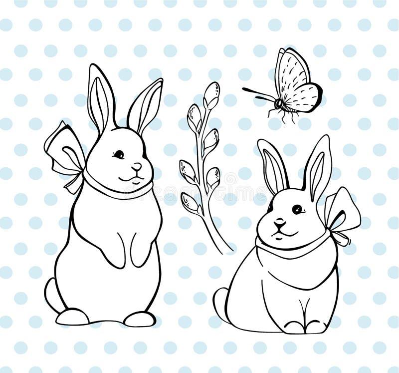 Vektor eingestellt mit Häschen, verba Brunch und Schmetterling Osterhasen vektor abbildung