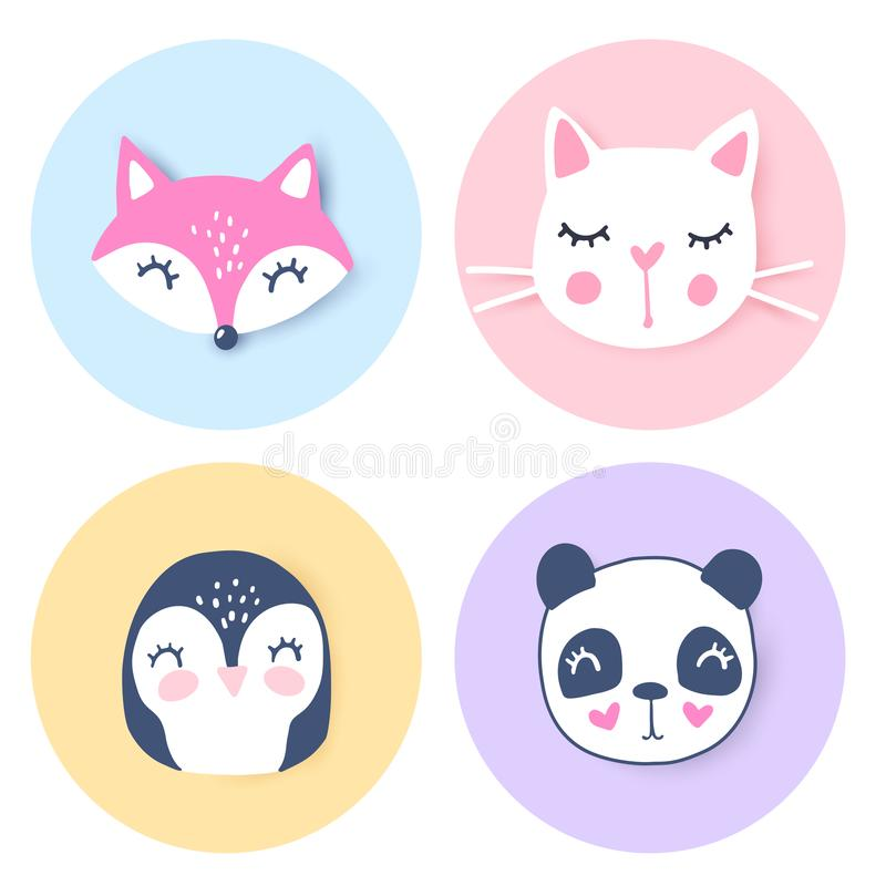 Vektor eingestellt mit Karikaturtieren - Panda, Katze, Fuchs, Pinguin Lustige Reihentiere stock abbildung