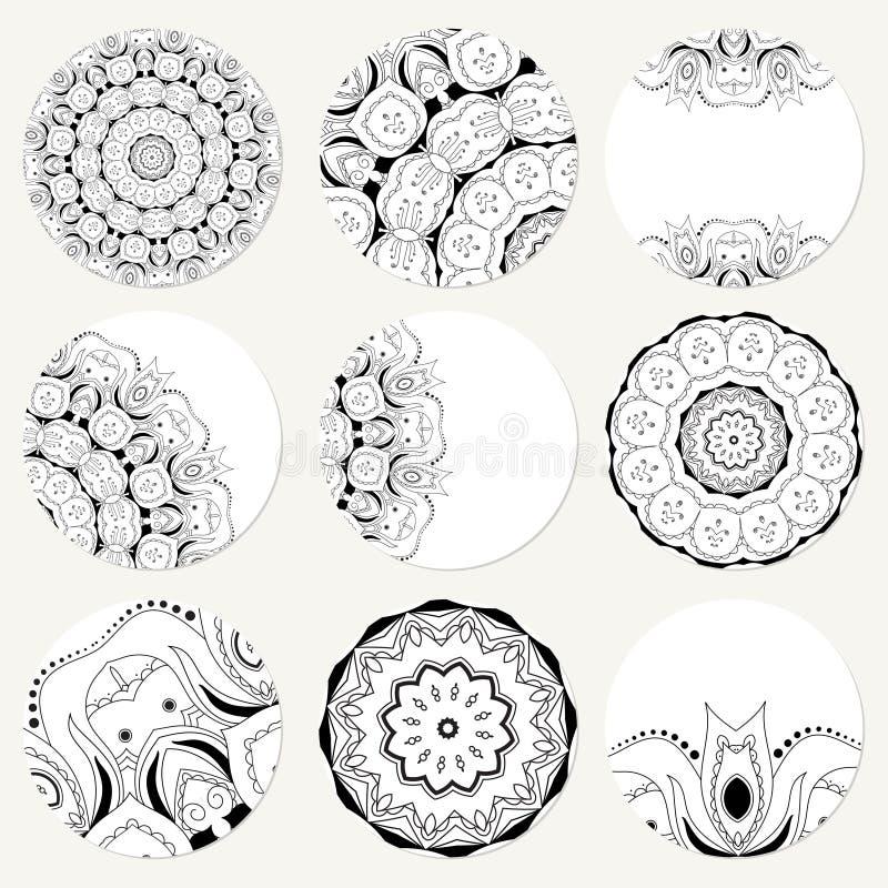 Vektor Eingestellt Mit Mandala Abstrakte Kreisverzierung Des ...