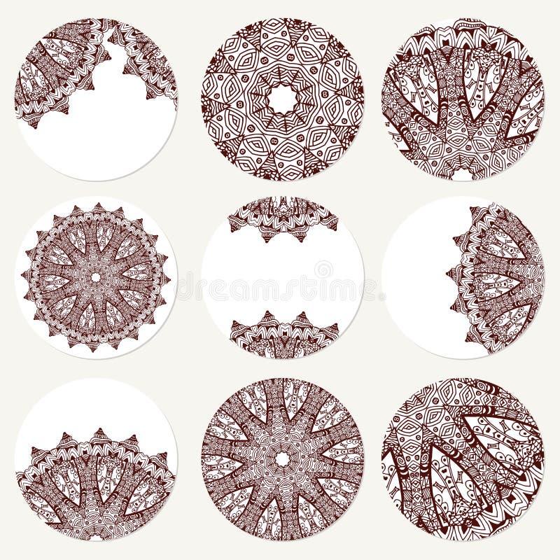 Vektor eingestellt mit Mandala Abstrakte Kreisverzierung des Hintergrundes Dekoratives Retro- Element Einladungskarte auf Hochzei stock abbildung