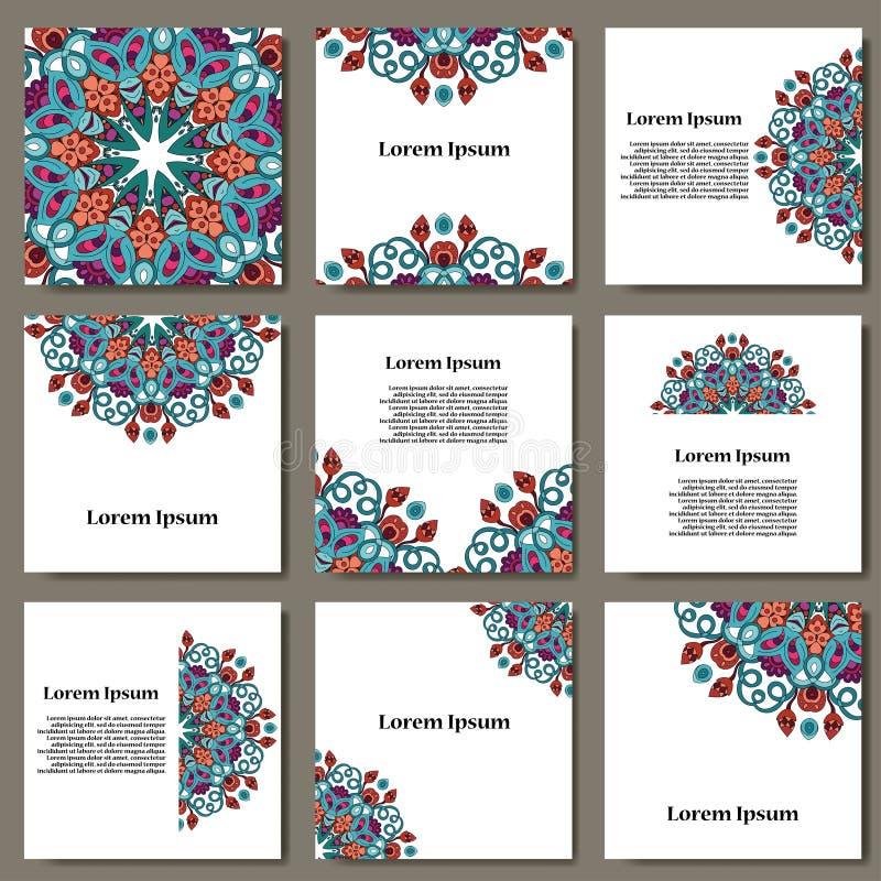 Vektor eingestellt mit Mandala Abstrakte Kreisverzierung des Hintergrundes Dekoratives Retro- Element Einladungskarte auf Hochzei lizenzfreie abbildung