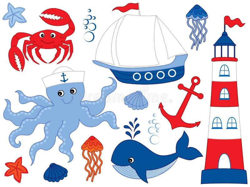 Vektor eingestellt mit Marine Animals und Gegenständen stock abbildung