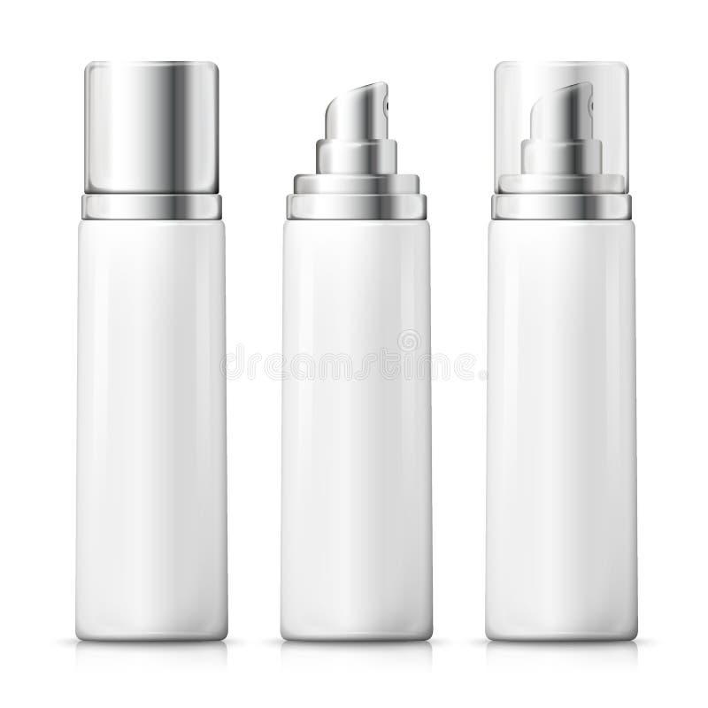 Vektor eingestellt - realistische weiße Sprühflaschen 3d vektor abbildung