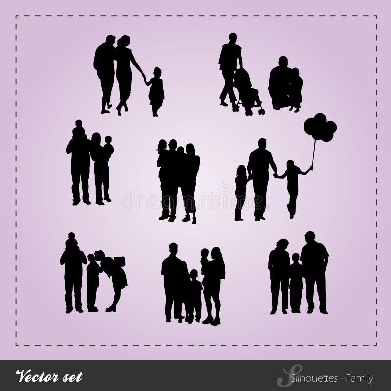 Vektor eingestellt - Schattenbild-Familie lizenzfreie abbildung