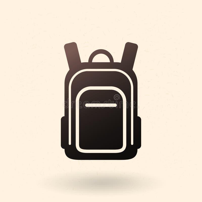 Vektor-einzelne schwarze Schattenbild-Ikone - Schultasche Einfacher Rucksack stock abbildung
