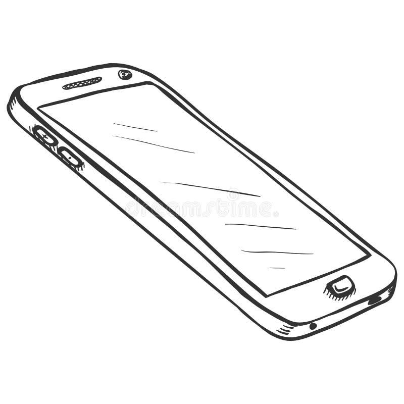 Vektor-einzelne Skizze Smartphone lizenzfreie abbildung
