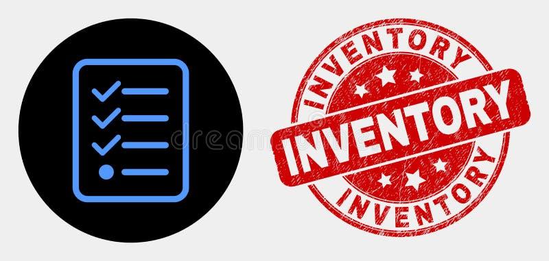 Vektor-Einzelteile listen Seiten-Ikone und Bedrängnis-Inventar-Stempel auf stock abbildung