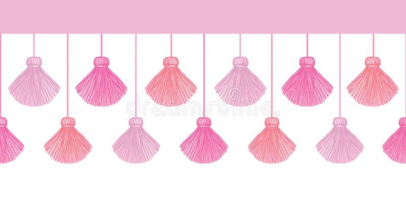 Vektor-elegante rosa dekorative Quasten stellten horizontales nahtloses Wiederholungs-Grenzmuster ein Groß für handgemachte Karte lizenzfreie abbildung
