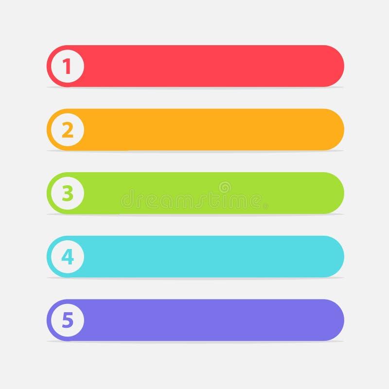 Vektor en två tre fyra fem moment, framsteg eller rangbaner med färgrika etiketter royaltyfri bild
