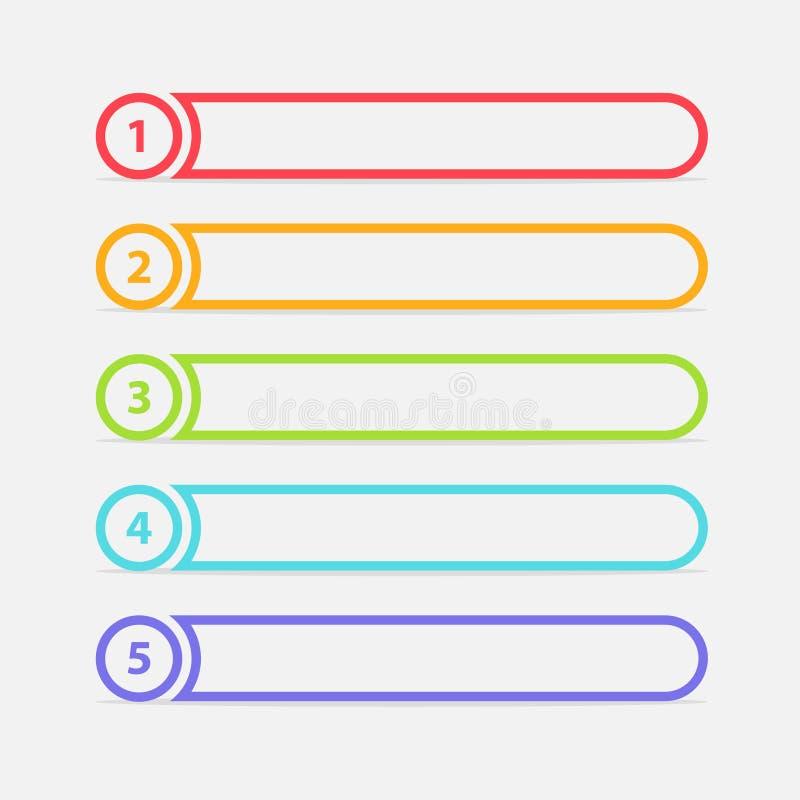 Vektor en två tre fyra fem moment, framsteg eller rangbaner med färgrika etiketter arkivbilder