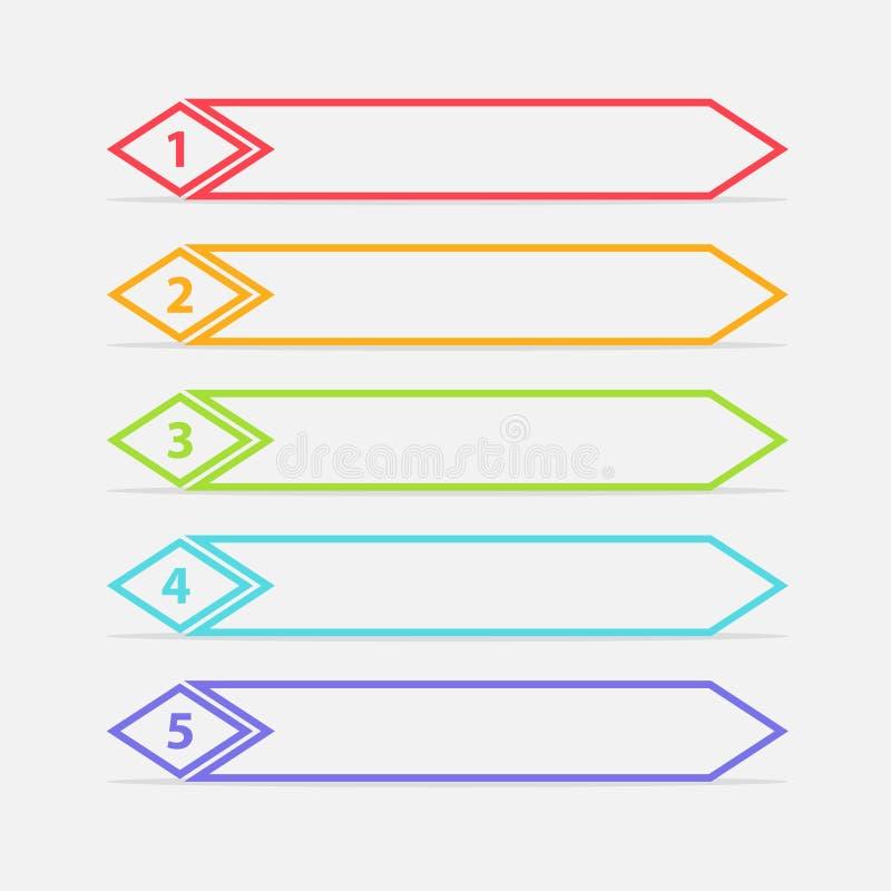 Vektor en två tre fyra fem moment, framsteg eller rangbaner med färgrika etiketter royaltyfria bilder