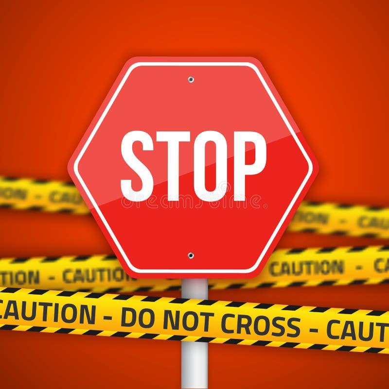 Vektor-Endverkehrsschild mit gelber Vorsicht kreuzen nicht Polizei Li stock abbildung
