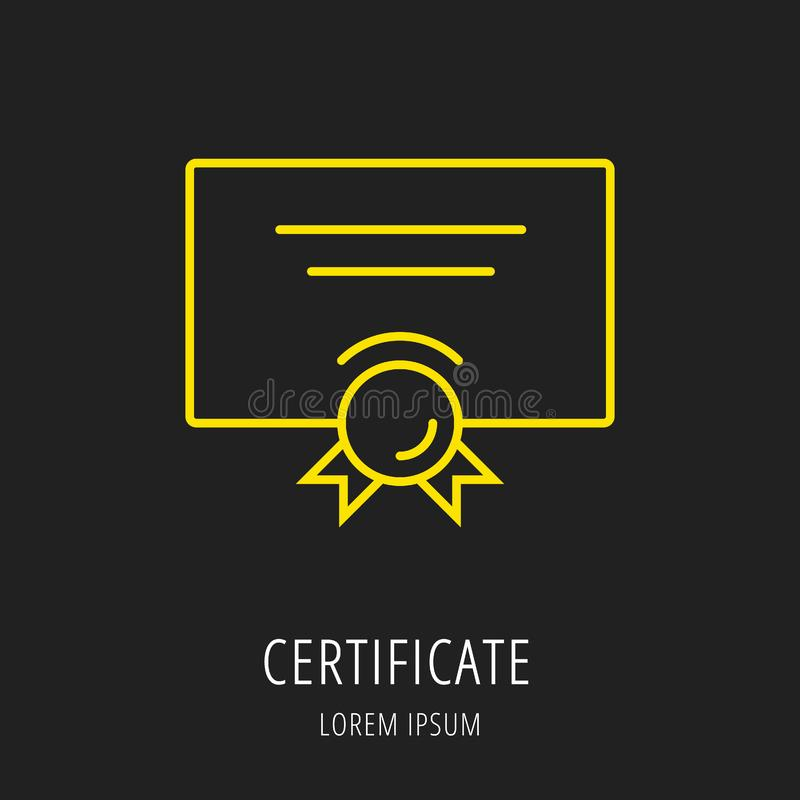 Vektor enkla Logo Template Certificate royaltyfri illustrationer