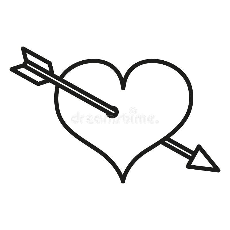 Vektor enkla Valentine Icon - hjärta som trängas igenom med en pil stock illustrationer