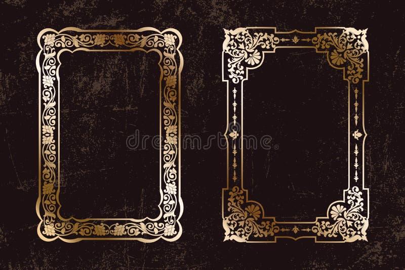Vektor-entwerfen Blumenweinlesesatz Rahmen, Modell für die Bucheinbänd, alte Seiten, Fotogrenzen, Einladungen, Zertifikate, Karte stock abbildung