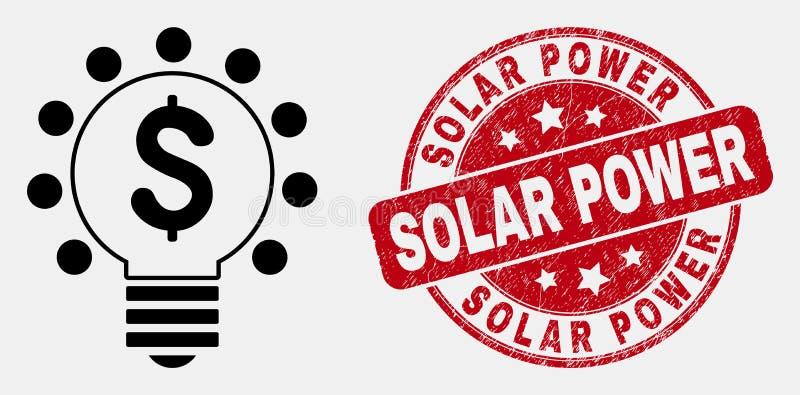 Vektor-Entwurfs-Dollar-Glühlampe-Ikonen-und Bedrängnis-Solarenergie-Stempelsiegel lizenzfreie abbildung