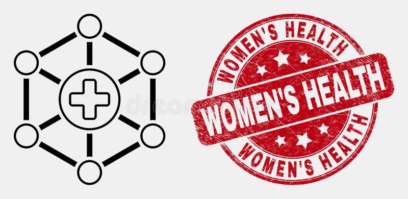Vektor-Entwurfs-Gesundheitszentrum-Verbindungs-Ikonen-und verkratzte Frauen-'s-Genusstauglichkeitskennzeichnungs-Dichtung vektor abbildung