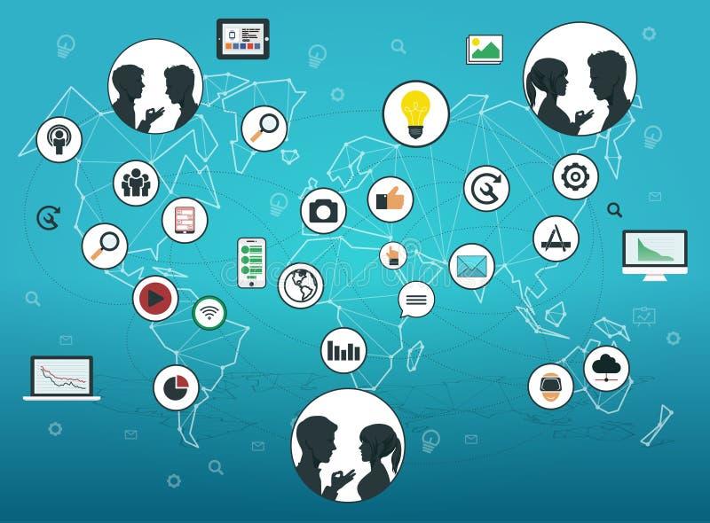 Vektor ENV 10 Die Profile der Leute in einem sozialen und in einem Mediennetz auf polygonaler abstrakter Weltkarte lizenzfreie abbildung