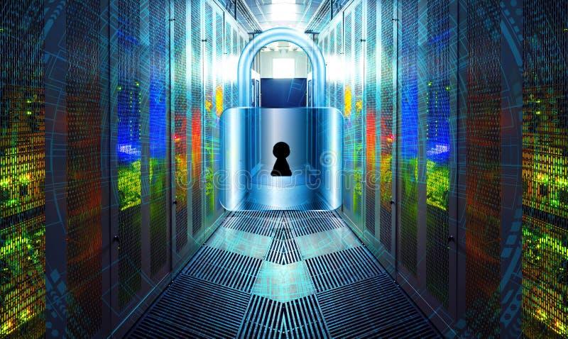 Vektor ENV 10 Digitaler Hintergrund der modernen Sicherheit Schutzsystem im Telekommunikationsgeräteraum mit Beleuchtung herein lizenzfreie abbildung