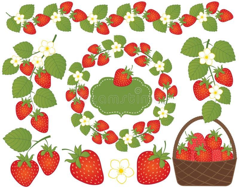 Vektor-Erdbeeren eingestellter eingeschlossener Korb, Kranz, Rahmen und Blumen Vektorerdbeere lizenzfreie abbildung