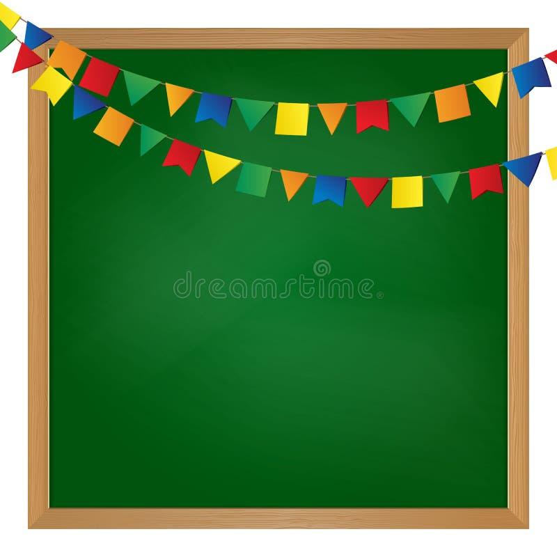 Vektor erläuterte Flaggengirlande auf Tafel vektor abbildung