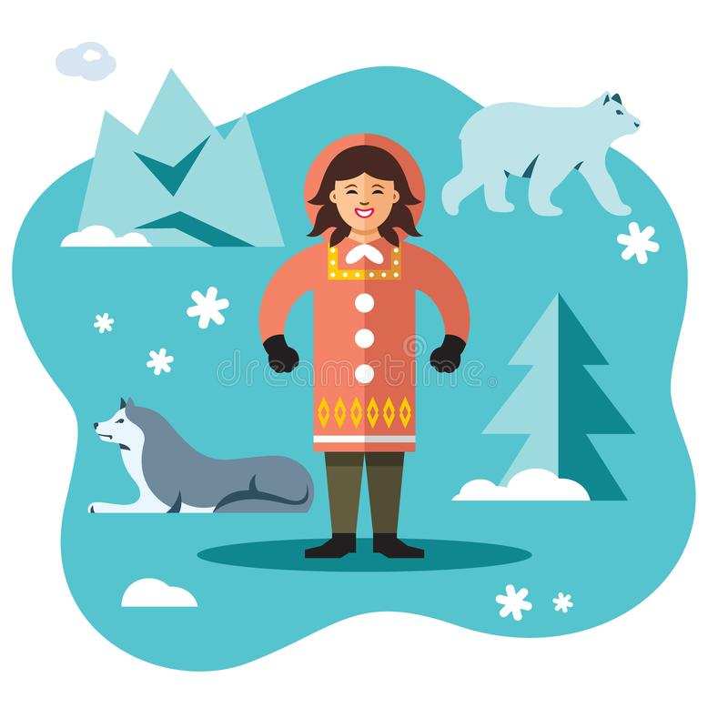 Vektor-Eskimo Flache Art bunte Karikaturillustration stock abbildung