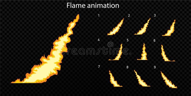 Vektor explodieren Explodieren Sie Effektanimation mit Rauche Karikaturexplosionsrahmen Sprite-Blatt der Explosion lizenzfreie abbildung