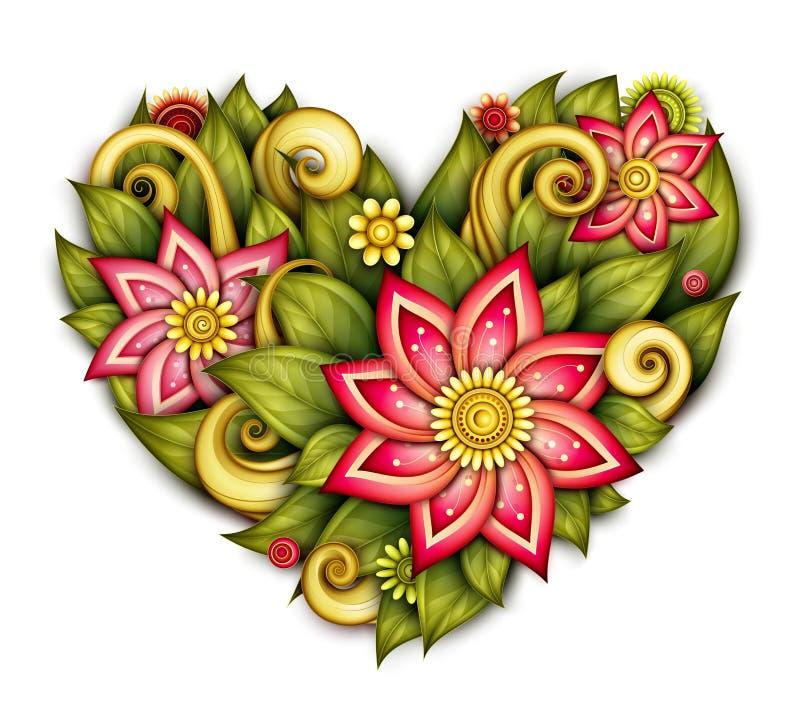 Vektor färgad blom- sammansättning i hjärta Shape vektor illustrationer