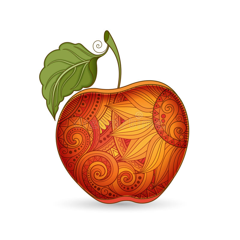 Vektor färgad kontur Apple vektor illustrationer